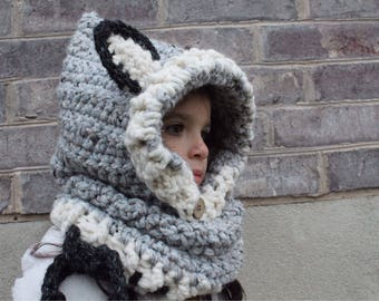 Wolf hooded cowl, child, crocheted