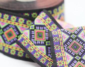 50 mm Colorfull Geometric Motif Ribbon (1.96 inches) -  Vintage Jacquard - Sewing Trim - Huge Trim - Large ribbon
