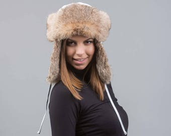 Real  fur trapper hat, ushanka hat ,russian fur hat, fur hat, rabbit fur, winter hat, cossack hat, trapper hat
