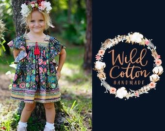Girls boho dress, Girls angel sleeve dress, fall dress, toddler dress, girls dress, photo prop