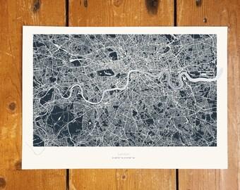 London Metallic Thames Map - Silver Foil - Dark Background