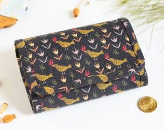 Fabric wallet, Small wallet, Womens wallet, Vegan wallet for women, Cute wallet, Coin purse, Mini wallet, Black wallet, Bird wallet, Pattern