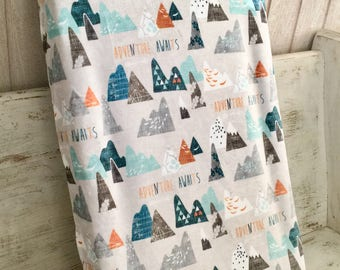 Changing Pad Cover ~ Adventure Awaits ~ Outdoor Changing Pad Cover ~ Changing Pad Cover for Boy ~ Changing Pad Slip Cover ~ Nursery Bedding