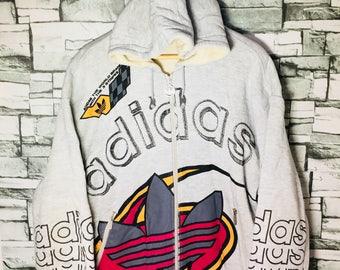 Vintage adidas big logo 3 stripes hooded sweater hip hop run dmc