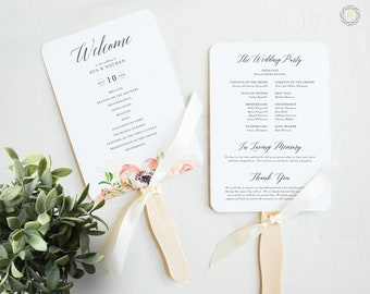 Wedding Program Fan, Wedding Program, Order of Service, Ceremony Program, Wedding Timeline, Program Timeline, Printable Wedding Program #PRG