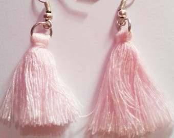 Pink cotton tassel earrings