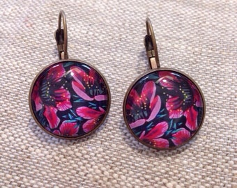 Earrings cabochon glass - pink/red flowers - nature