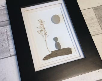 Pebble Art Person ~ unique birthday gift, moving out of the house gift, housewarming gift, thoughtful gift, original art, authentic art