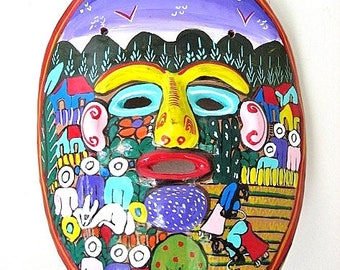 Vintage Folk Art Pottery Mask Wall Decor from Mexico Pastoral Scene