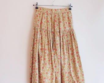 Vintage floral hippie boho flower skirt S