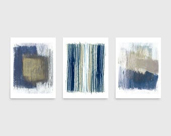 Best Selling Item, Indigo and Beige Abstract Triptych, Modern Art Print, Blue Abstract Art, Minimalist Art, Set of 3 Prints, Framed Prints