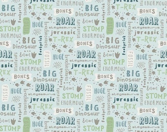 Fossil Rim Dinosaur Words in Blue from Deena Rutter for Riley Blake cotton spandex lycra licensed, jersey 4way stretch K6611-BLUE dinosaurs