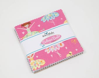 "Ballerina Bows 5"" Stackers (42 5"" squares) from Riley Blake Designs 5-6950-42 girls 100% quilting cotton precut charm pack squares"