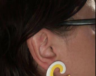 SALE Vintage 60s Lucite Mod Yellow/White Earrings Retro Earrings Mod Earrings