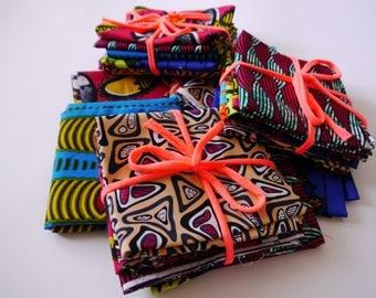 Fat Quarter Bundle of 6 Bright African Wax Print Cotton