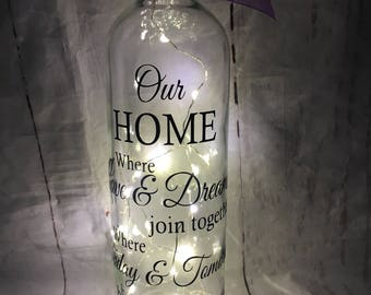 Light Up Wine Bottle With Our Home Quote