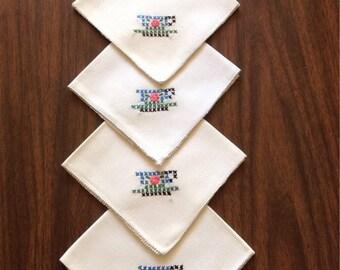 Vintage Embroidered Linen Napkins-Set of 4