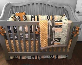 Custom Crib Bedding-tribal