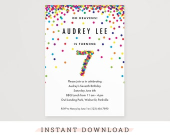 Rainbow 7th Birthday Party Invitation, Instant Download Printable PDF. Cute confetti birthday invitations for 7 year old girl or boy!