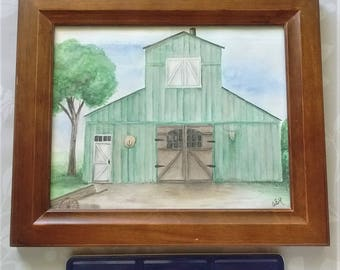 Green Barn Art, Original Watercolor Barn Art, Framed Art, Wall Decor, Country Art, Farm Life, 8 x 10 Wall hanging, Birds and Berry Studio