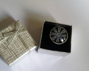 Cabochon ring adjustable blue adjustable fashion ring