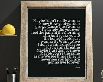Oasis Song Oasis Lyrics Live Forever Bestie Soulmate 1 Year Anniversary Wedding Song Artwork Apartment Decorating Our Love Story Printables