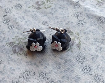 Black cat earrings drops handmade cute kitty kitten cat lover Halloween