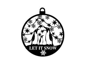 Let it snow penguin bauble svgs for instant digital download
