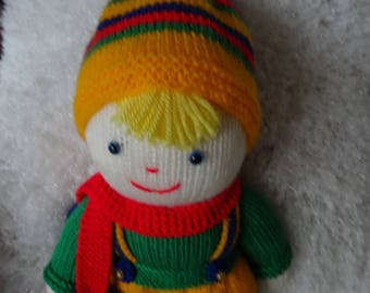 Hand Knitted Girls Doll/Toy. Colourful