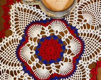 Patriotic Doily - Crochet Lace Doily - Wedding Gifts - Farmhouse Decor - Rustic Home Decor - Coffee Table Doily - Custom Doily