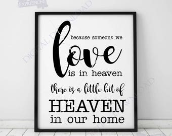 Love Heaven Quote Vector Digital Design Download, Vinyl Design Saying, Memorial Day Sign, In Loving Memory, SVG Printable artwork, love sign