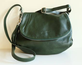 Gerard Henon Shoulder Bag Cross Body Bag in Green Clafskin Leather