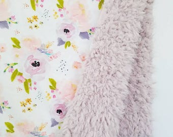 Blush Watercolor Floral Baby Blanket, Baby Girl Blanket, Floral Minky Blanket, Toddler Girl Blanket, Minky Floral Blanket, Watercolor Floral