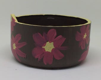 Hand painted glass jewelry bowl.