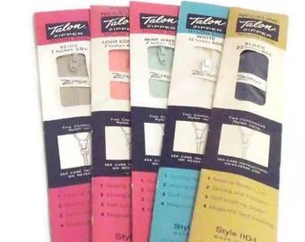 5 Vintage Talon Nylon Coil Zipper Neckline Skirt Craft Clothing Textile Black White Pink Blue Beige 7, 12, 22 inches