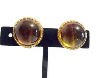 Amber Colored Gold tone Clip on Earrings Plastic Orange Brown Gold Tone Clip on Amber Clip on Amber Cabachon Plastic earrings