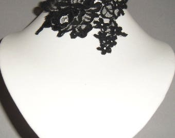 Bridal lace black wedding Black Lace and flower on Ribbon necklace
