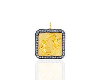 SDC2058 Zodiac sign - Pisces Pave Diamond Charm