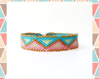 Woven Friendship Bracelet Ethnic Tribal Native Pastel Triangles for men women unisex simple skinny thin adjustable thread - Q'enqo Bracelets