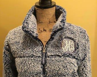 Navy monogrammed sherpa, sherpa quarterzip,  sherpa pullover plus size available, unisex sherpa jacket, sherpa sweater, gift