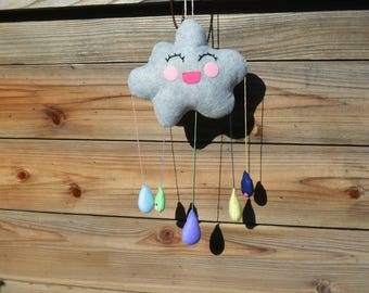 Smiling Rainbow Stormy Rain Cloud Wall Hanging/Mobile (Style 2)