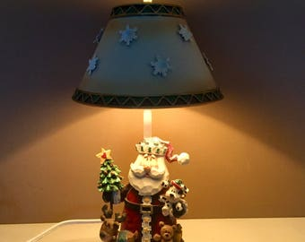 Vintage two tier christmas plate cookies candy night vintage christmas table lamp santa claus and all the toys bed side table aloadofball Images