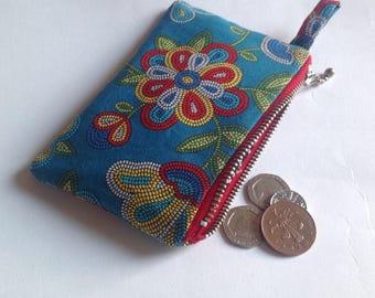 blue tucson beaded fabric purse for chane, keys , lipstick. Christmas stocking filler