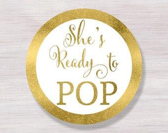 She's Ready to pop stickers, Ready to pop tags, Cupcake Toppers Printable, Gold Baby Shower Décor, Ready to pop Labels, Baby Shower ideas
