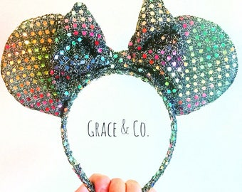 Multi-Colored Sequin Minnie Mouse Ears || Handmade, ine-size fits all headband