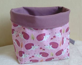 Tidy fabric basket pattern pink and purple hedgehogs