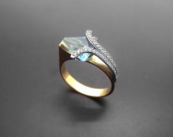 Diamond Ring, 14k Yellow Gold, 14k White Gold,Zirconia,Spinel