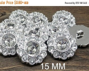 20% SALE CRYSTAL CLEAR Rhinestone Buttons Round Buttons Garment Buttons Diy Embellishments Bridal Buttons Sewing Buttons 15mm 2997 2R