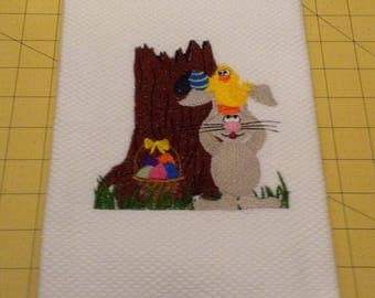 EASTER - Bunny and Friends Hiding Easter Eggs! Embroidered Williams Sonoma All Purpose Kitchen Hand Towel, 100% cotton, XL