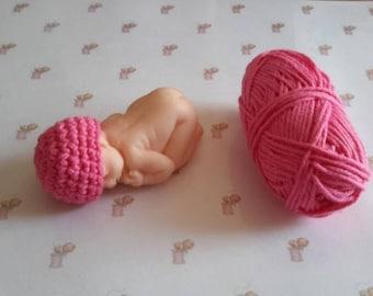 Dark pink cotton crochet Handmade miniature polymer clay baby bonnet